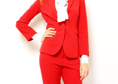 Red pants suit